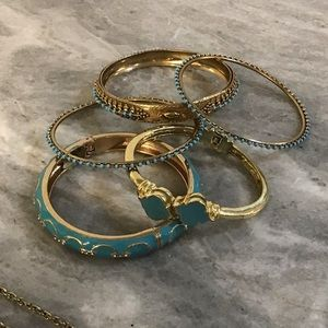 6 piece Turquoise and Gold Jewelry Set